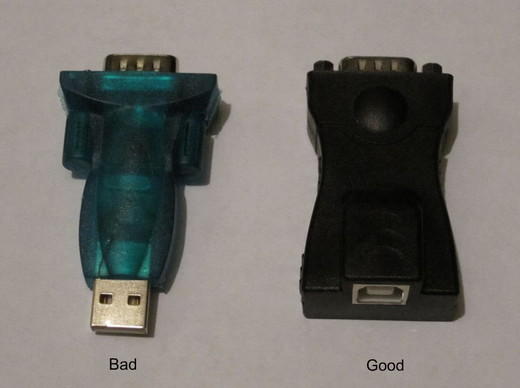 Don't buy cheap USB to RS232 converters